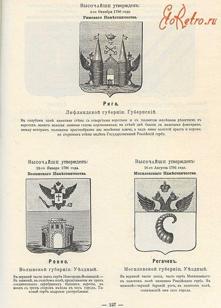 гербы городов российской империи