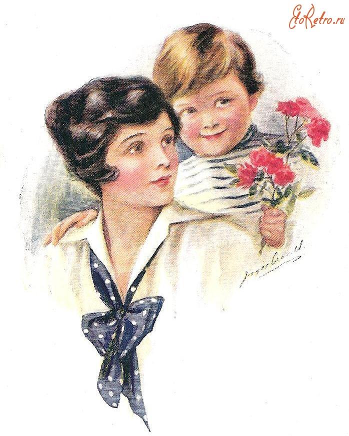 Старинные открытки с мамами, месяцами девочке открытки
