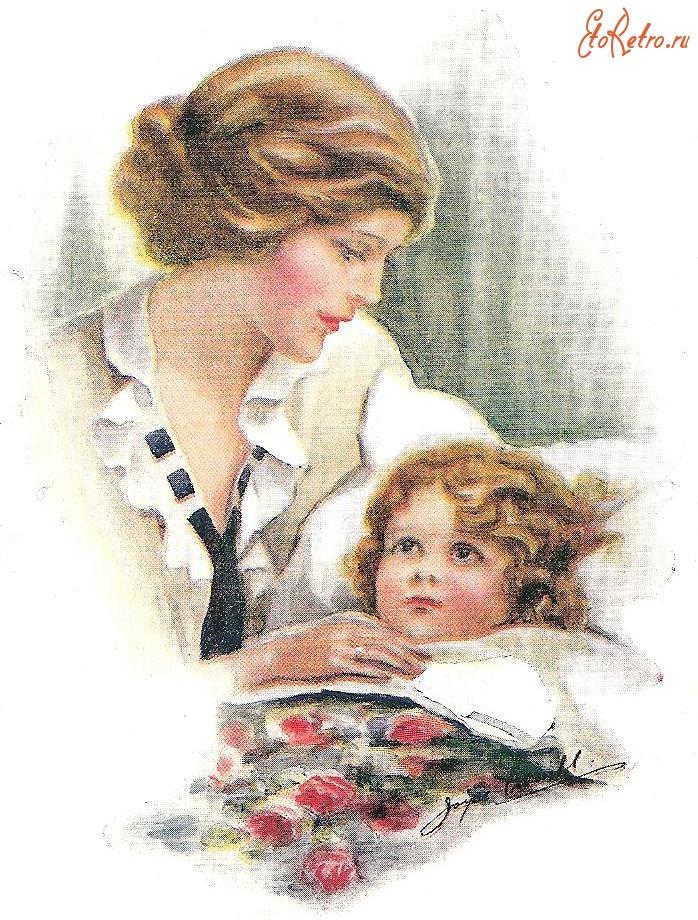 Старые открытки о маме, марта