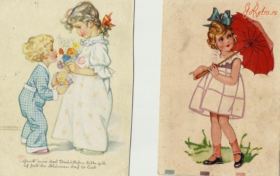 Картинки на ретро открытках 799