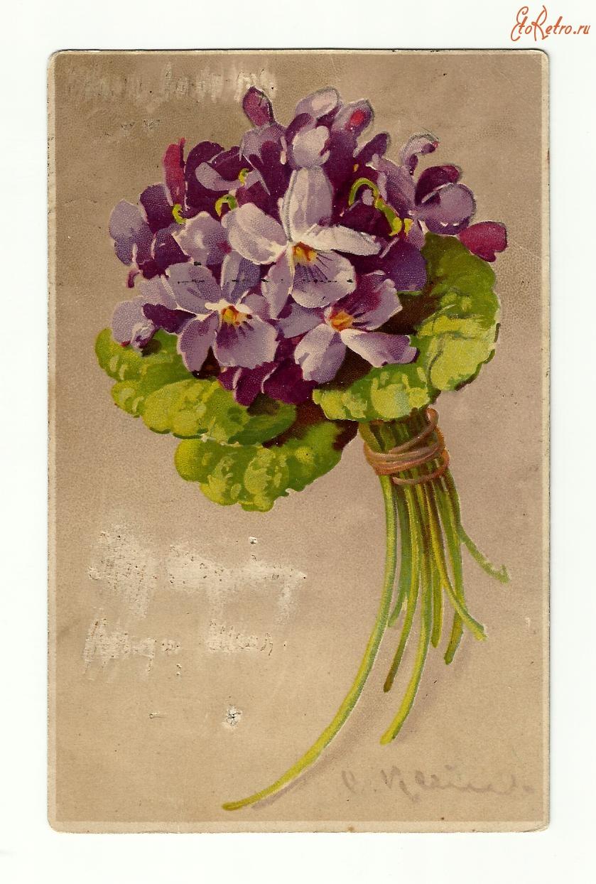 Ретро открытка с цветами, класс созданию открытки