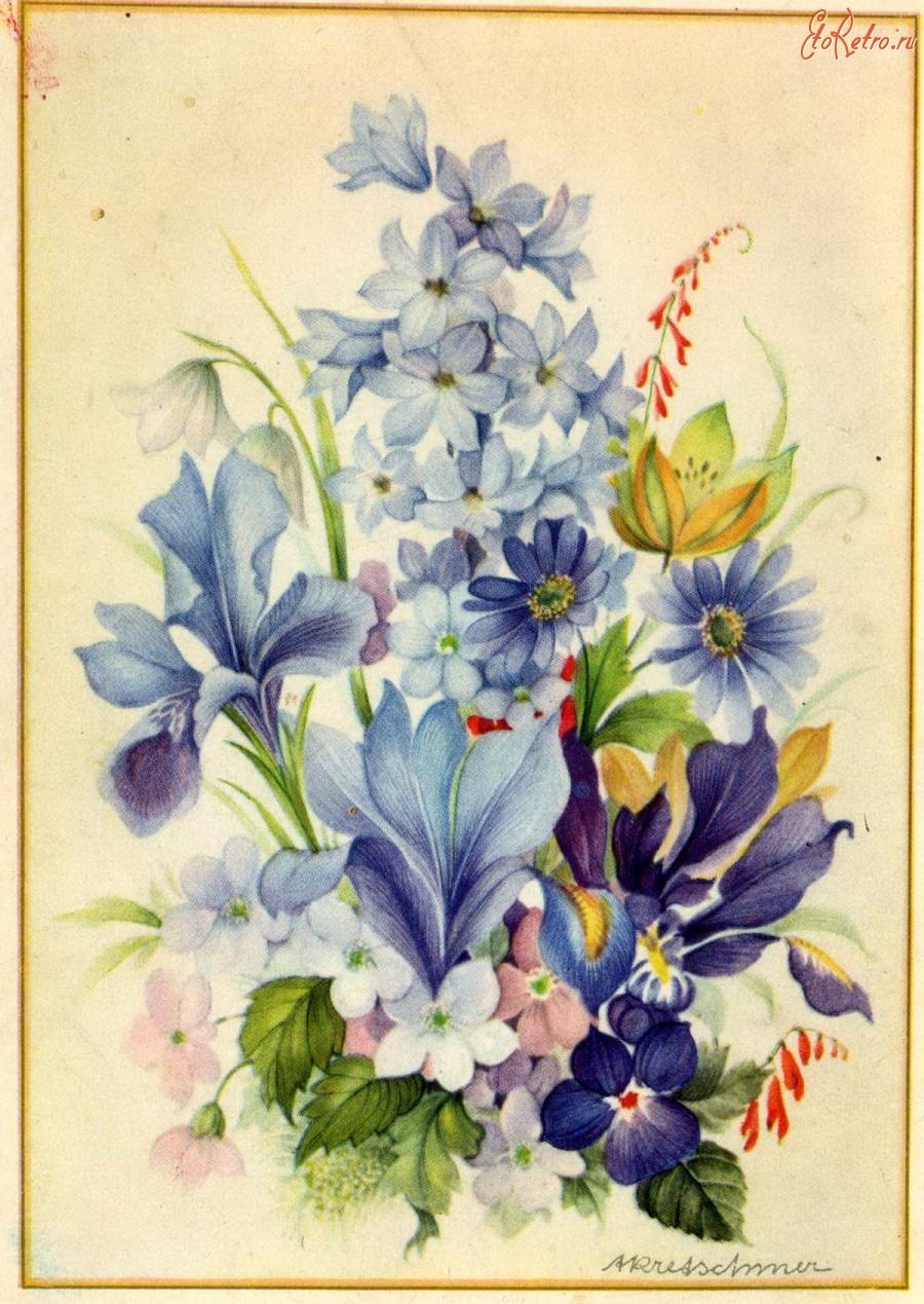Советские открытки с цветочными мотивами