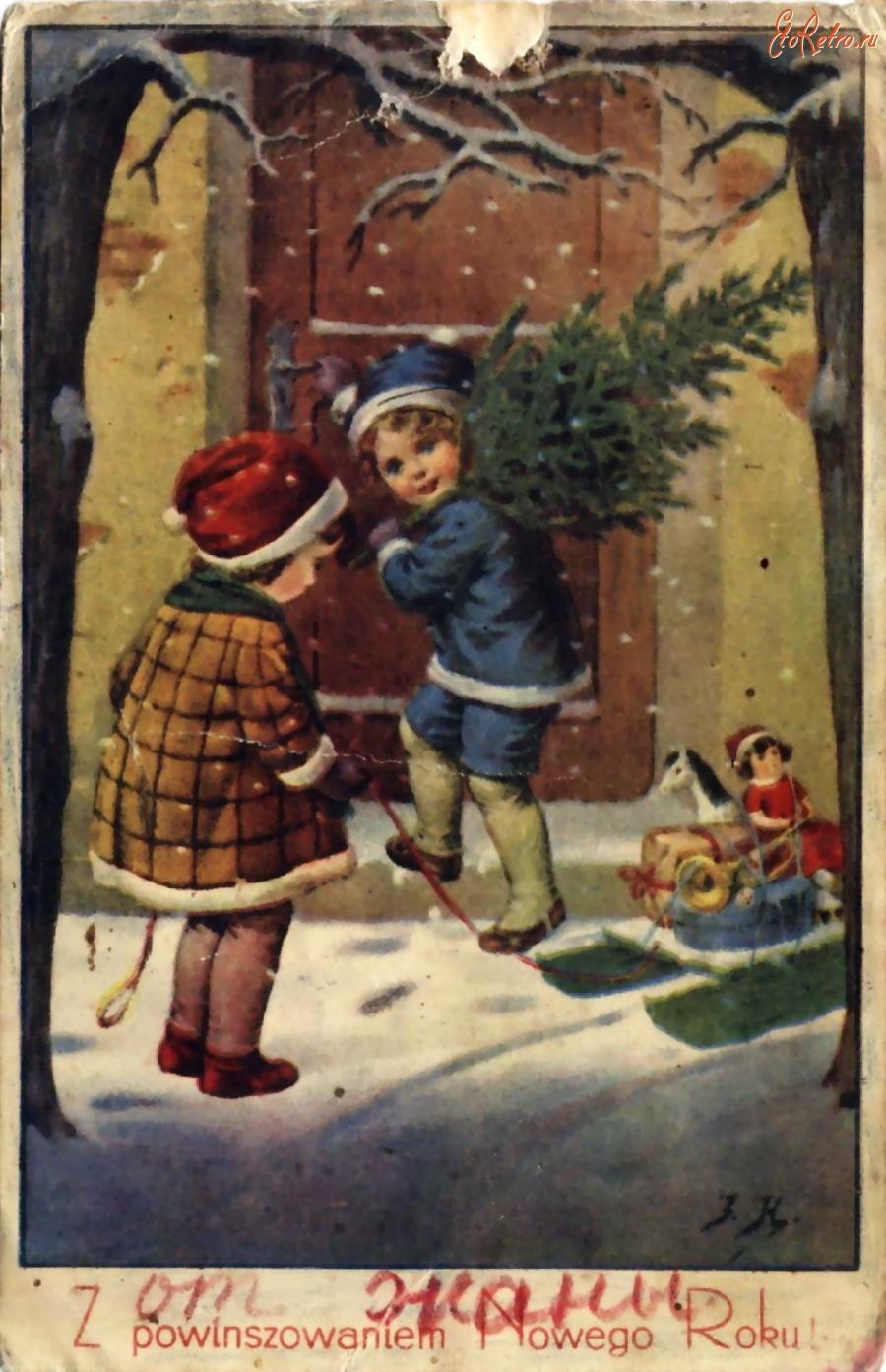 Старые открытки с новым годом ретро