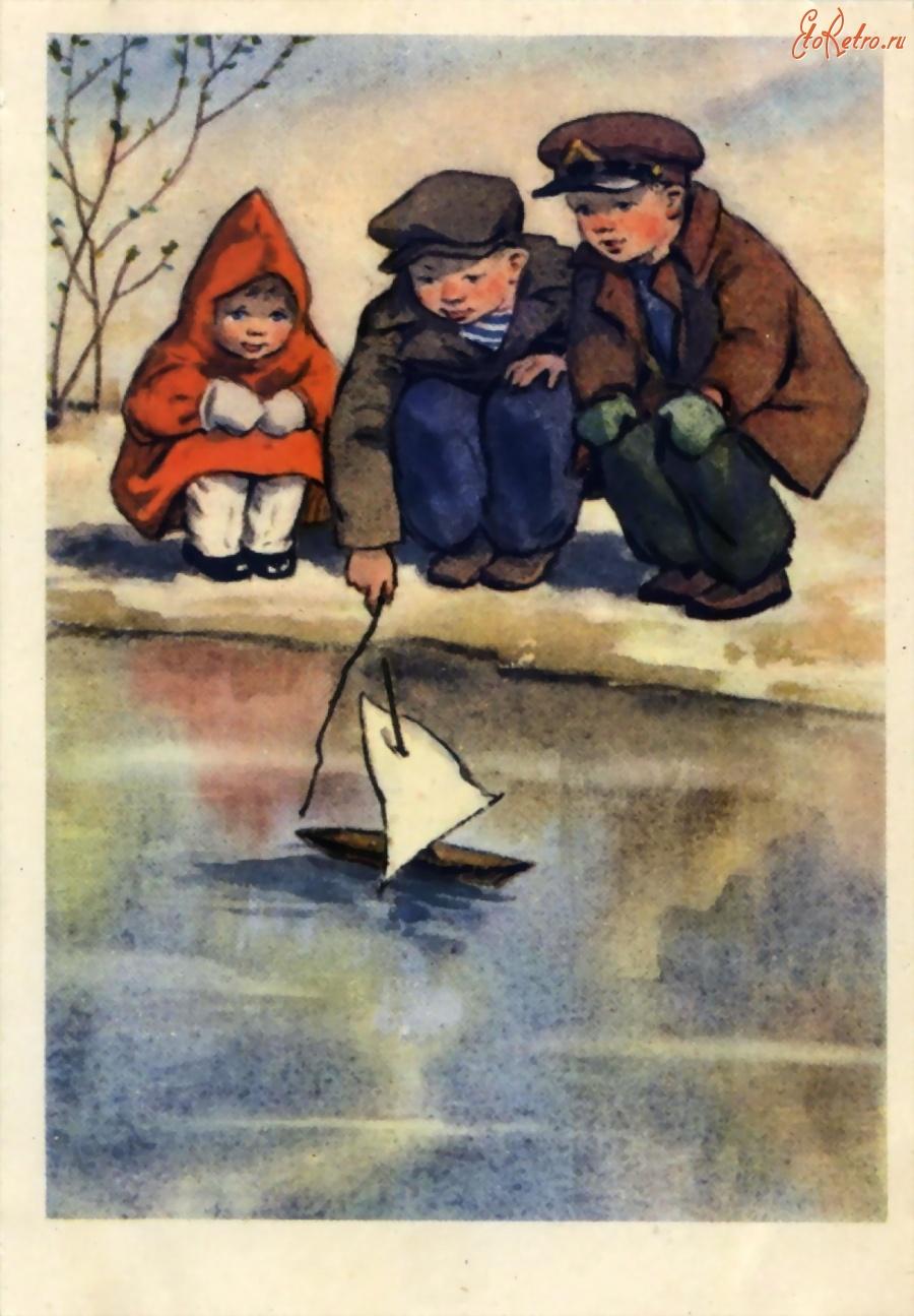 советские открытки кораблик одной вершине