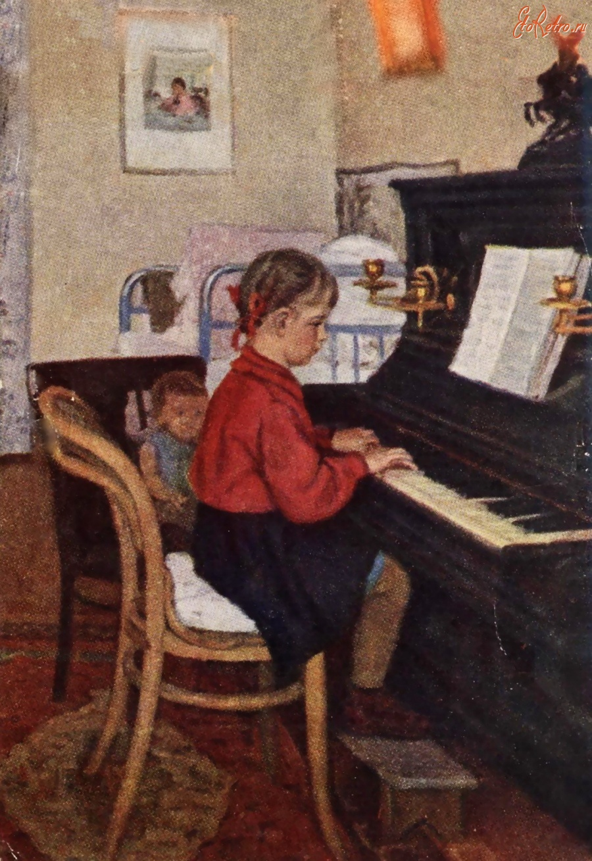 Открытки дети за роялем