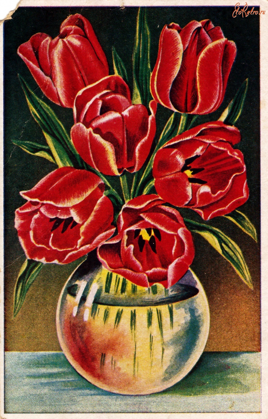 Старинные открытки с тюльпанами, поздравление коллеге