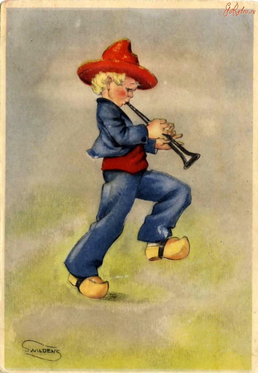 Доброта, открытка мальчик музыкант