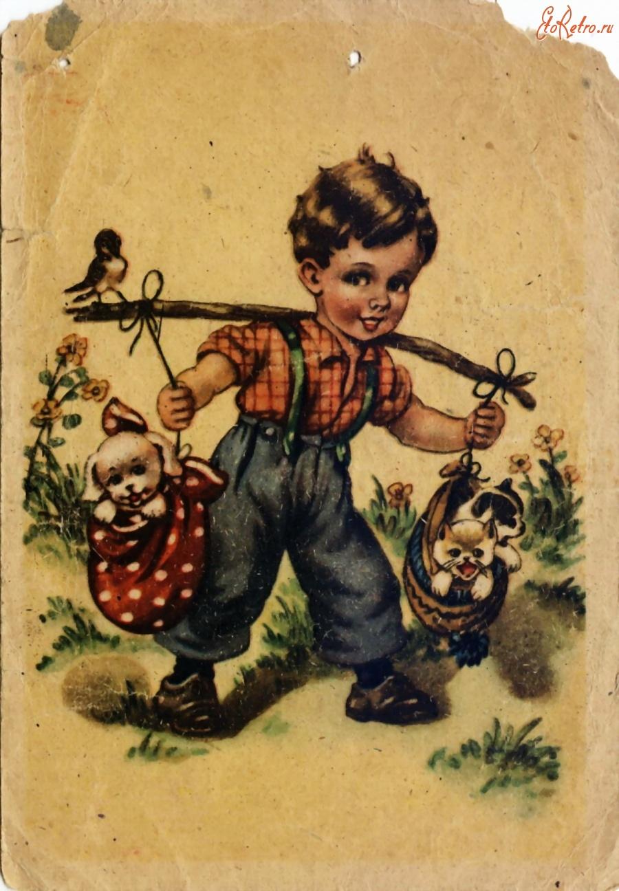 Мальчик старинные открытки
