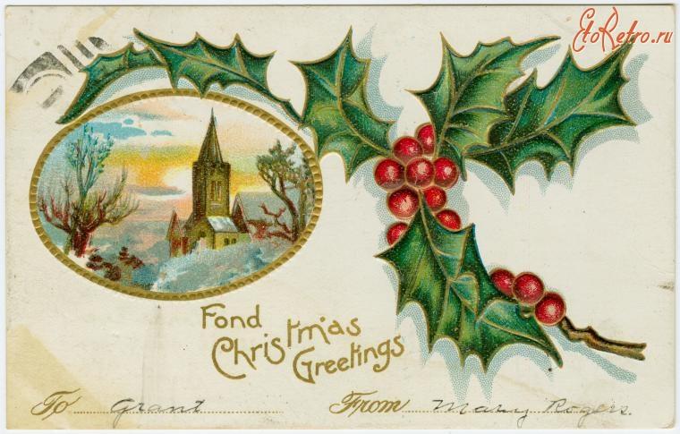 открытки американского рождества питаются сочными молодыми