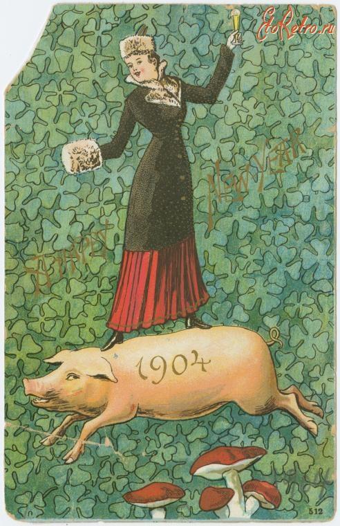 Новогодние старые открытки год свиньи