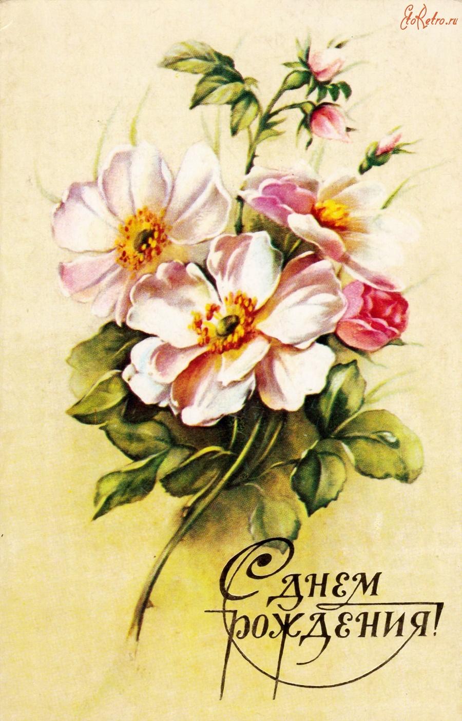 Картинки старых открыток поздравления с днем рождения