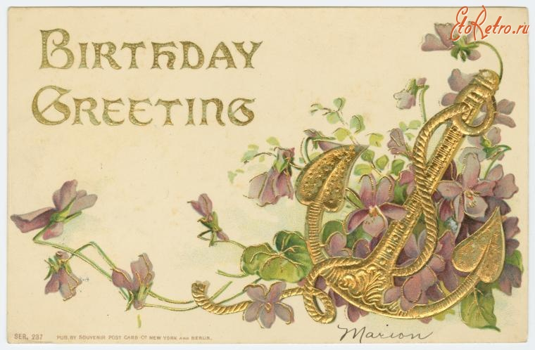 Старинные открытки на английском с днем рождения