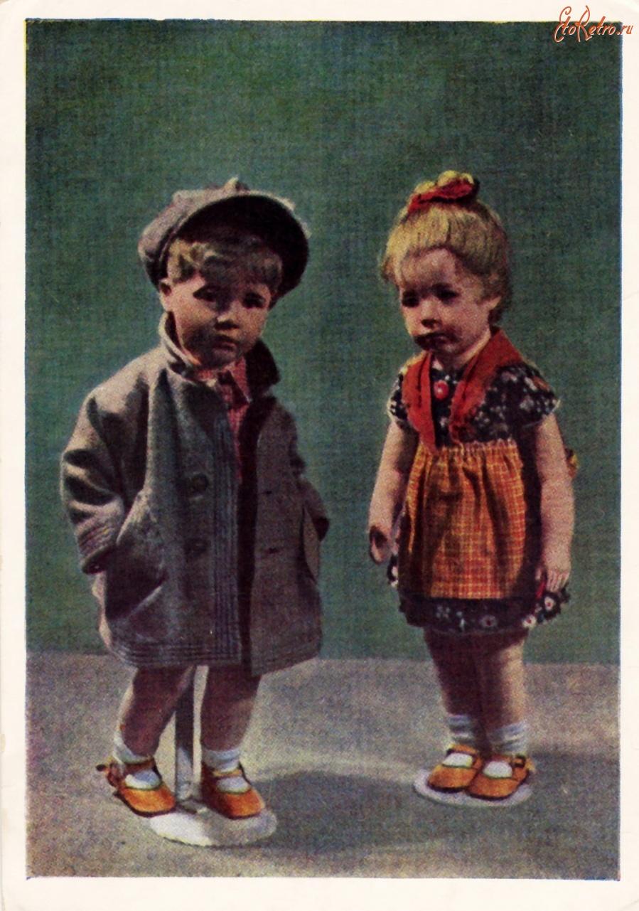 Ретро открытки - Мальчик и девочка