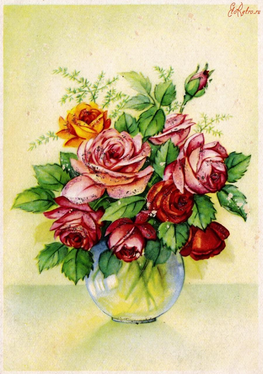 Открытки с цветами ретро, ожидание