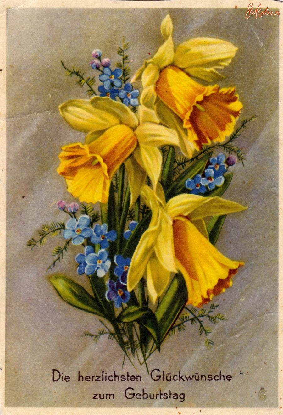 Днем рождения, фото старые открытки с цветами