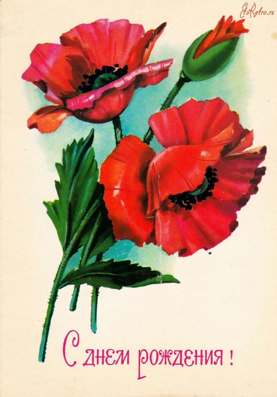 Днем рождения, открытка с маками с юбилеем