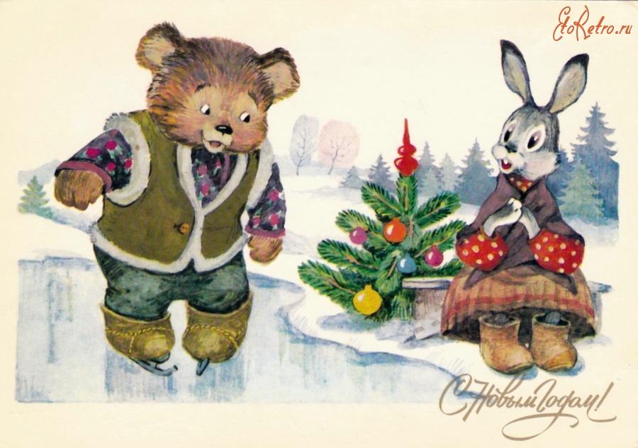Интересные, старые открытки заяц