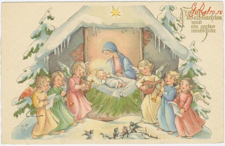 Картинки, открытки ретро рождество христово