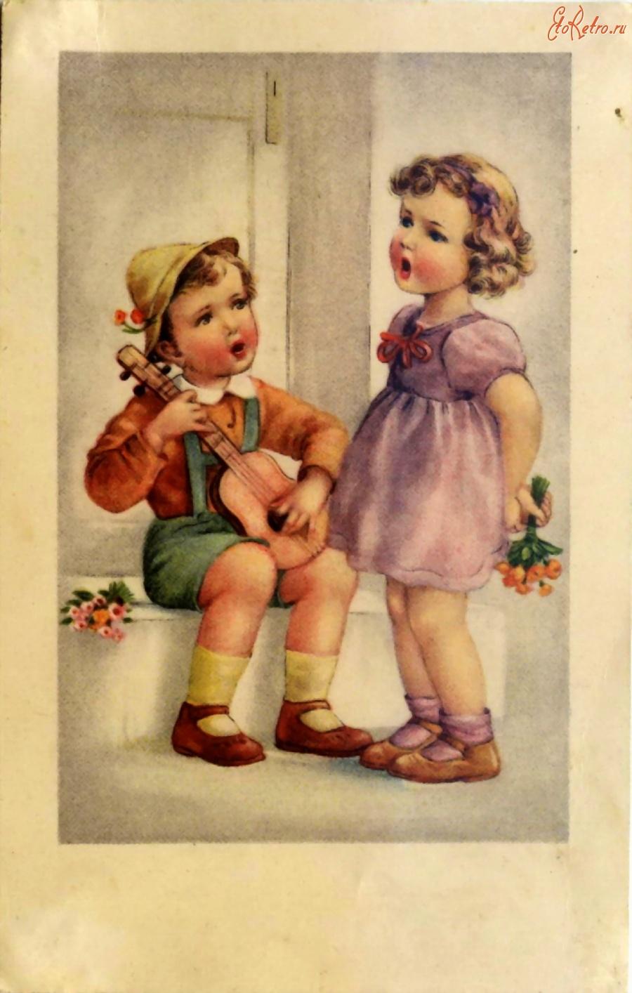 открытки старые с детьми стоит