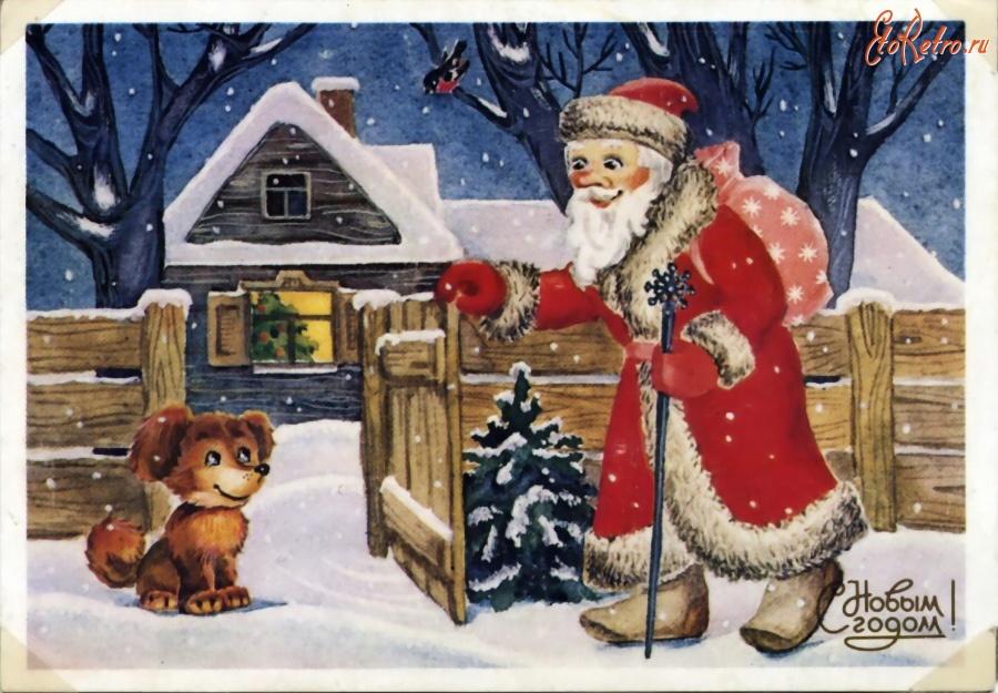Поздравление, открытки дед мороз у домашних
