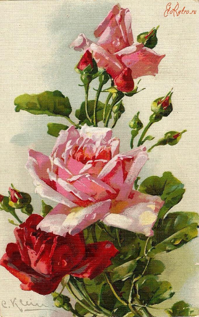 Поделки открытки, цветы ретро открытка
