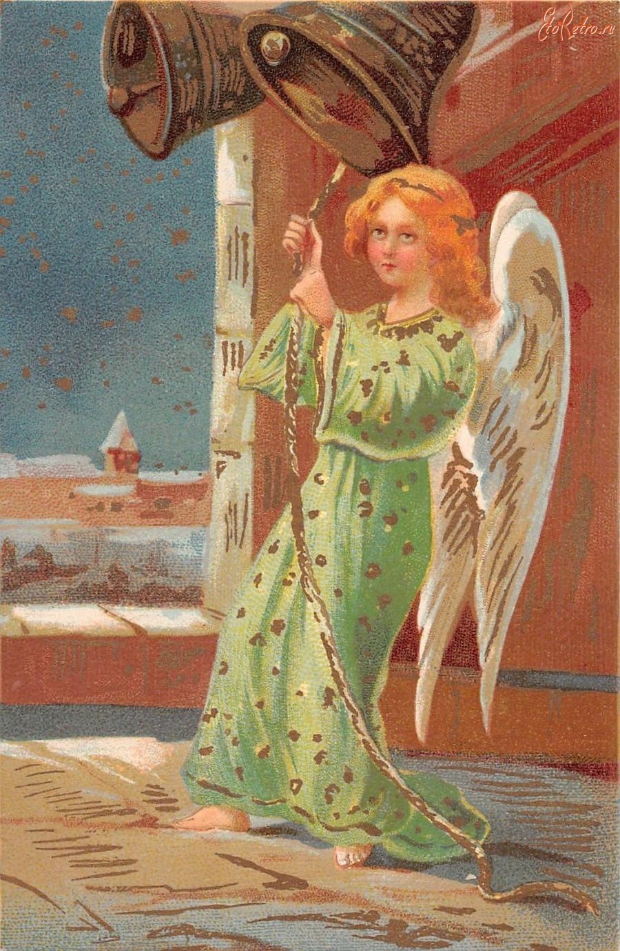 Открытки, открытка с колокольчиком и ангелов