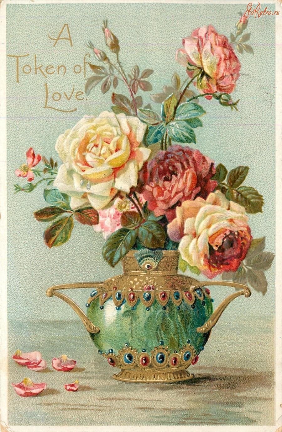 Картинки, цветы ретро открытка