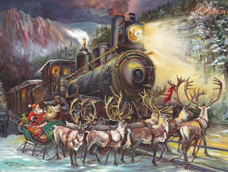 Железнодорожная открытка с новым годом, наступающими