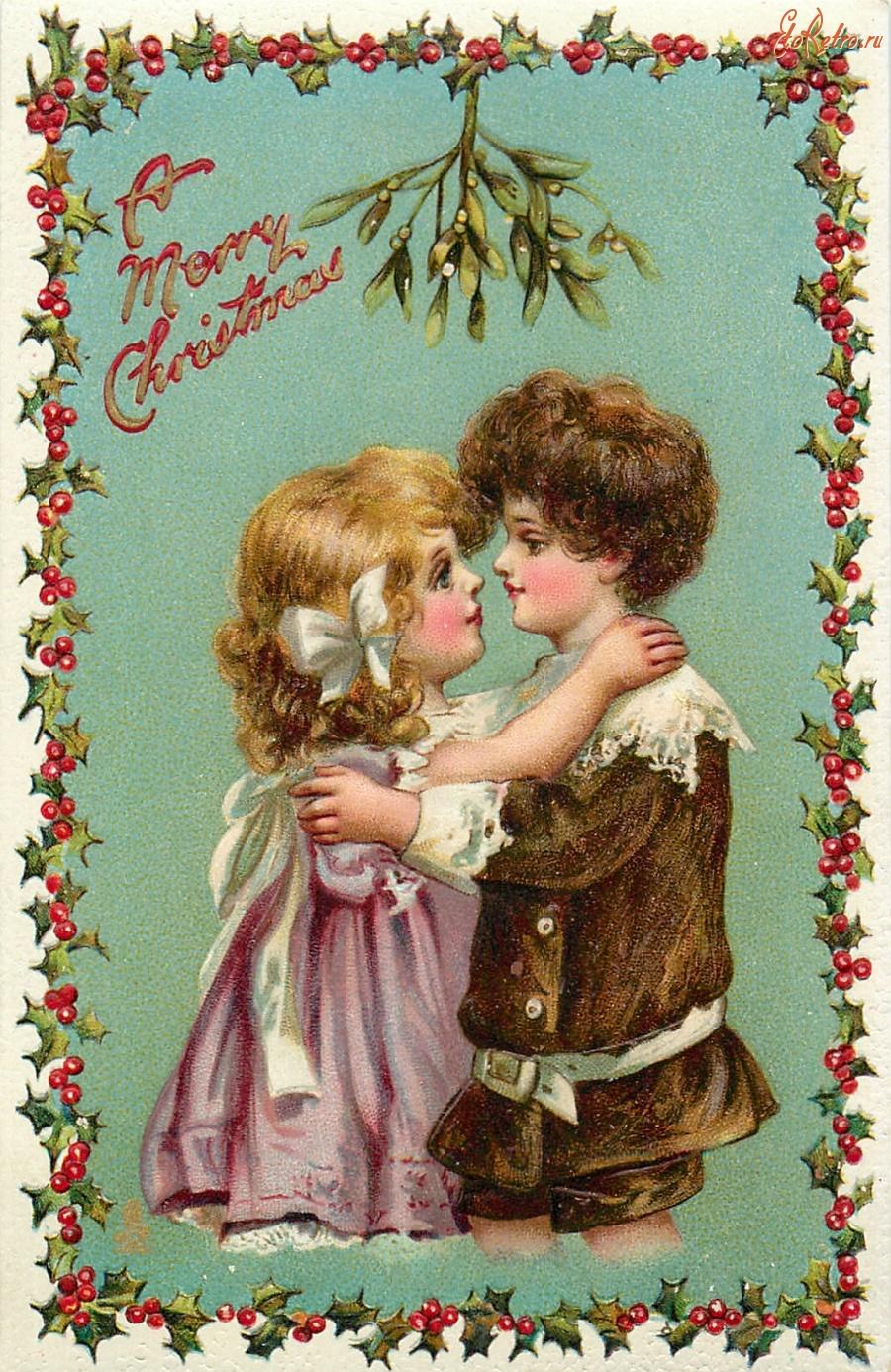 Рождественские открытки с омелой, днем