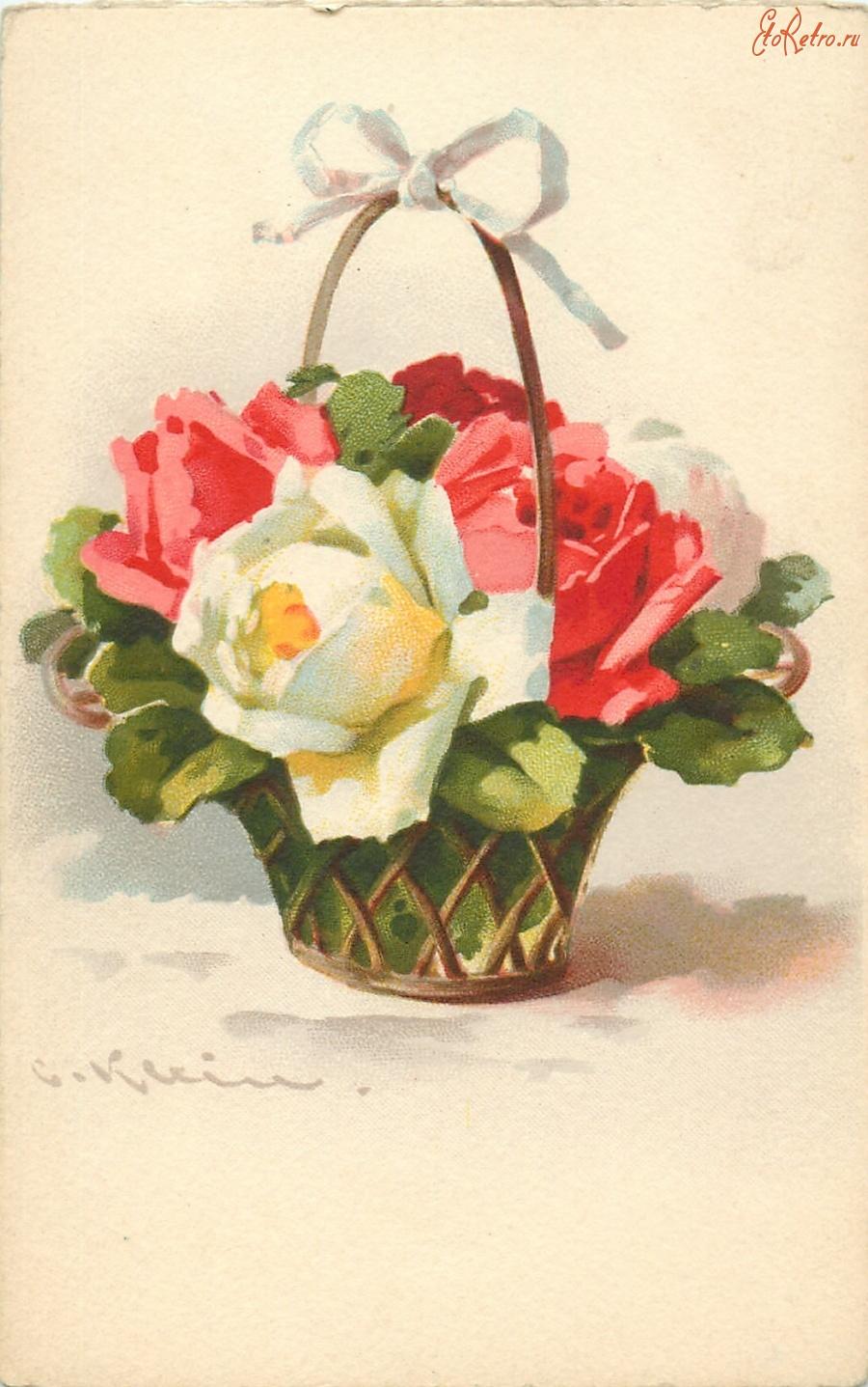 Советские открытки цветы в корзине открыт