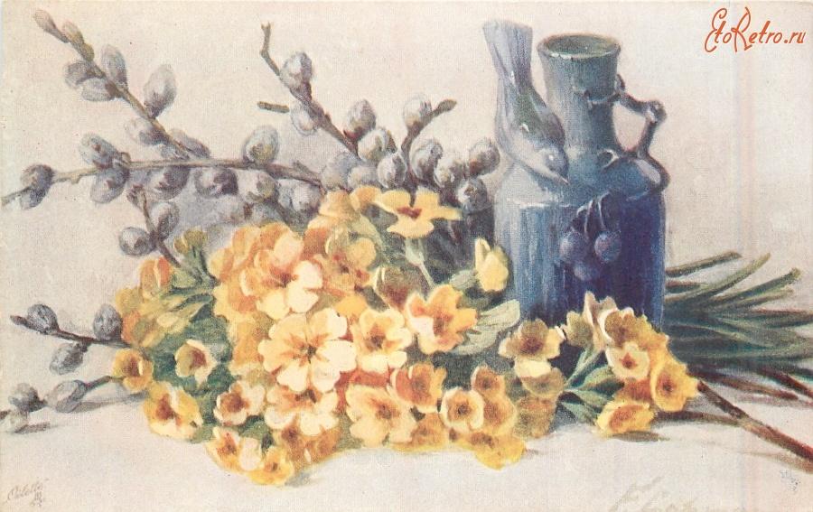 Советские открытки цветы в корзине спортсменов