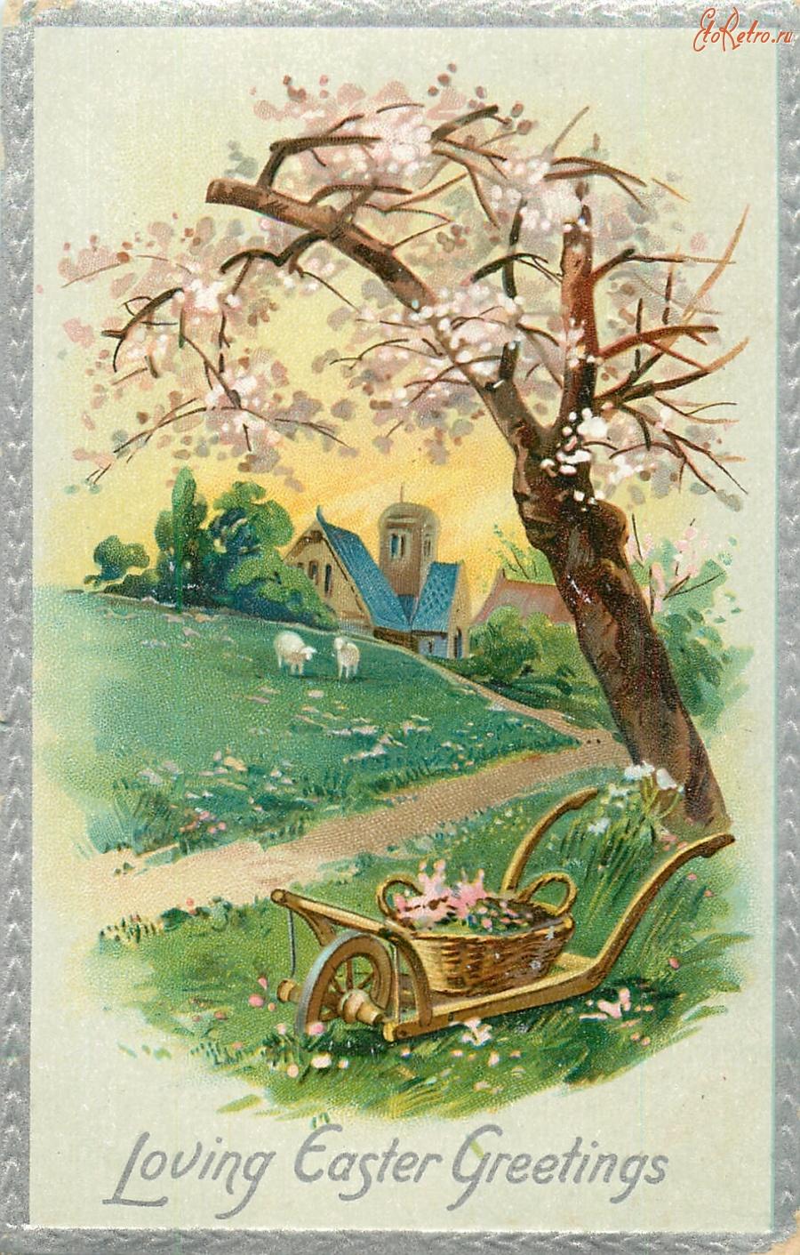 Девушке поцелуй, старинные открытки с пейзажем