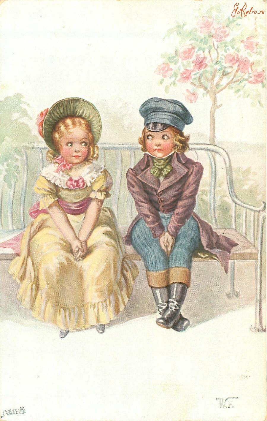 Подружке, дружба старинные открытки