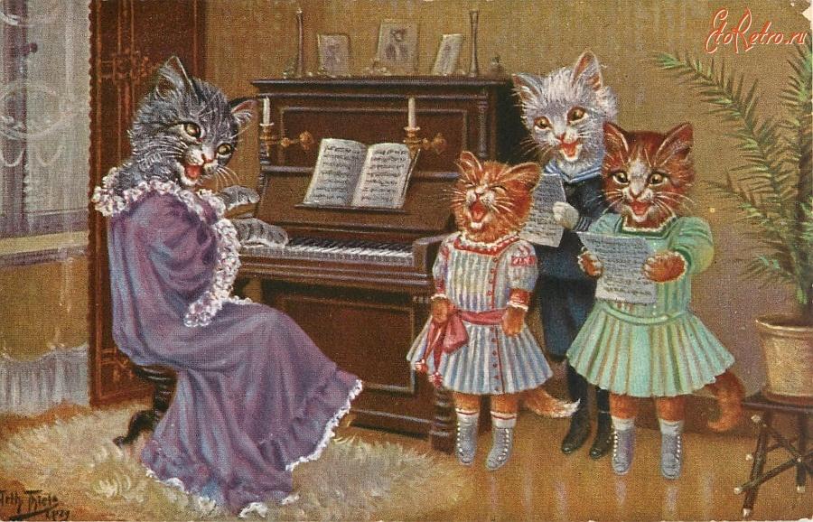 Для любимого, открытки с поющими кошками