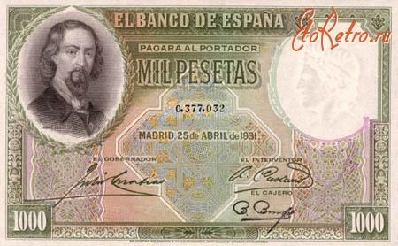 Старинные деньги (бумажные, монеты) - Бона - 1000 песет банка Испании