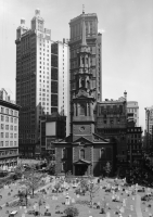 Нью-Йорк - Photo of St. Paul's Chapel from Trinity Place, США,  Нью-Йорк (штат),  Нью-Йорк,  Манхеттен